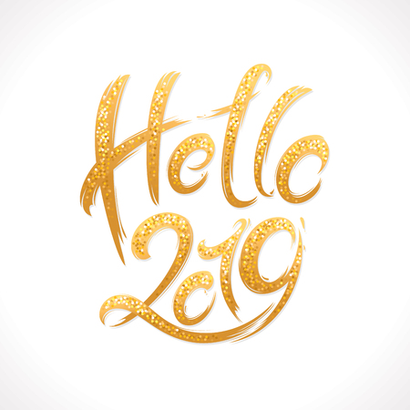2019年の新年手書きのきらめくレターグリーティングカード。手描きのベクトルイラスト 写真素材 - 107349058