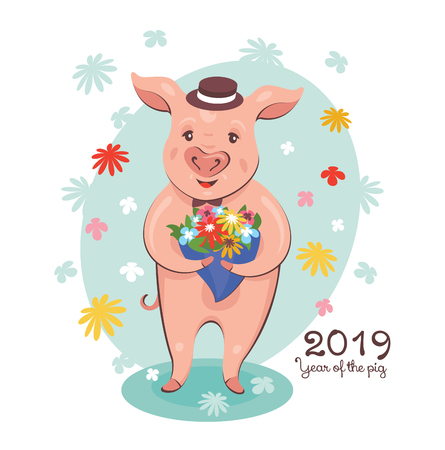 2019 New Year greeting card with cute pig with a bouquet of flowers. Vector illustration.  イラスト・ベクター素材