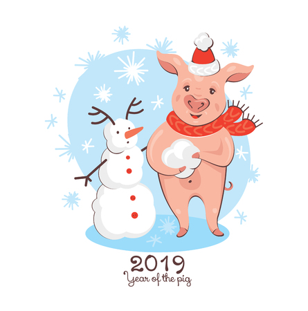 2019 New Year greeting card with pig and snowman. Year of the pig. Vector illustration. 写真素材 - 116137428