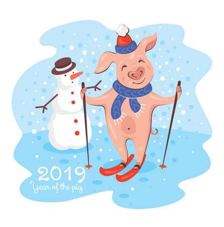 2019 New Year greeting card with pig and snowman. Cute happy young pig skiing with a smile in a snowy day. Vector illustration.  イラスト・ベクター素材