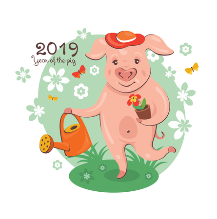 2019 New Year greeting card with a cute pig gardener. Vector illustration.  イラスト・ベクター素材