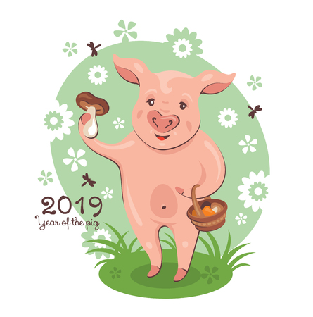 2019 New Year greeting card with cute pig, which holds a basket of edible mushrooms. Vector illustration.  イラスト・ベクター素材