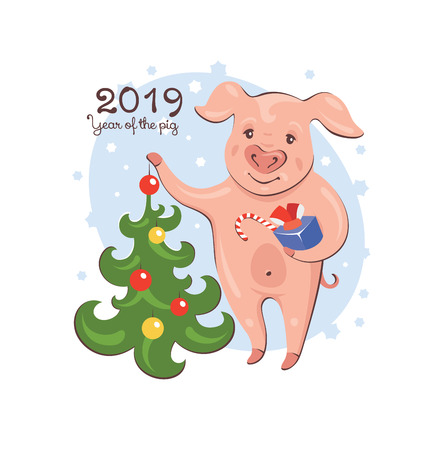 2019 New Year greeting card with pig standing near Christmas tree and holding a present. Vector illustration.