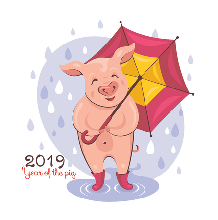 2019 New Year greeting card with a cute pig walking in the rain. Vector illustration.  イラスト・ベクター素材