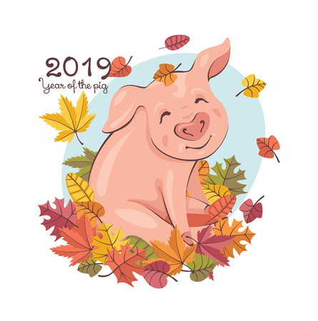 2019 New Year greeting card with a happy cute pig playing with the falling leaves. Vector illustration.  イラスト・ベクター素材