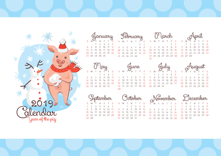 2019 New Year calendar with a pig and a snowman. Vector illustration.