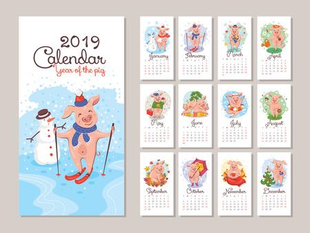 2019 year calendar with cartoon stylized pigs. Vector illustration  イラスト・ベクター素材