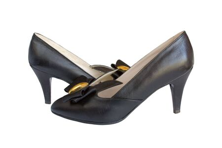 Black woman shoes on white. photo