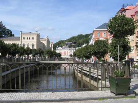 Karlovy Vary's view with Tepla river, Czech Republic. Stock Photo - 2687783