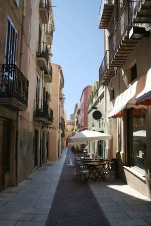 openair: A lane in Figueres with open-air cafe (Spain)