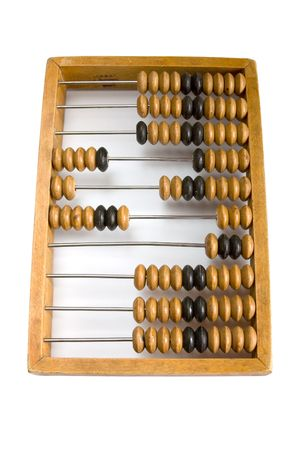 calculated: Old wooden abacus with a calculated sum.