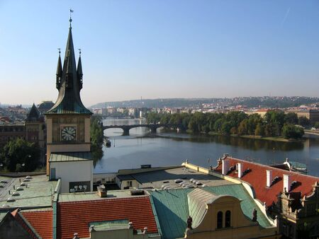 czechia: Pragues view in morning from the tower. Czechia.