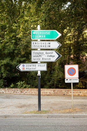 Signpost in France  It is located in the Haut-Rhin department in Alsace near Guebwiller commune