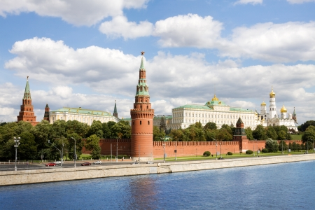 moskva river: General view at Moscow kremlin and Moskva river in Russia.