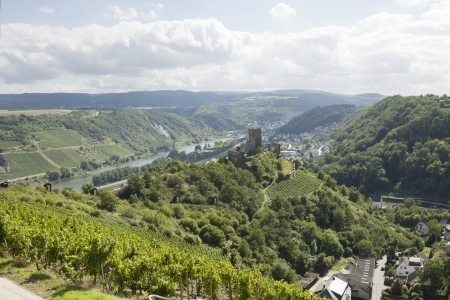 mosel: A panoramic view of Mosel river and Kobern-Gondorf town in Germany