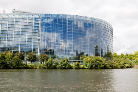 View of the European Parliament from Ill river