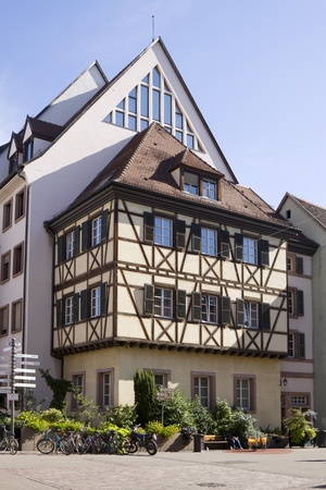 The architecture of Colmar city in Alsace, France  A half-timbered house and others houses