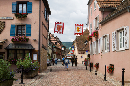 half timbered: Eguisheim village in France  Eguisheim is a commune in Alsace in north-eastern France  Since 2003 Eguisheim is included into the list of the most beautiful villages of France