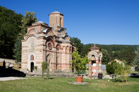 serb: The orthodox monastery Kalenic in Serbia  Kalenic monastery is an important Serb Orthodox monastery in central Serbia  It was built in the early 15th century  The church is dedicated to the Presentation of the Virgin Mary  Stock Photo