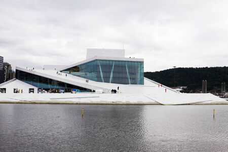 The Opera House in Oslo, Norway  The building is situated in the central Oslo, at the head of the Oslofjord  It was built in 2007 and was opened on April 12, 2008