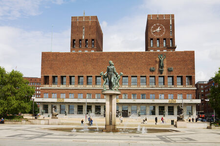 nobel: The Oslo City Hall in Norway. The Oslo City Hall is house of the city council and city administration. The house was built in 1950. Here takes place the Nobel Peace Prize ceremony.