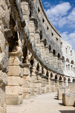 amphitheatre: The wall of Roman amphitheatre in Pula.