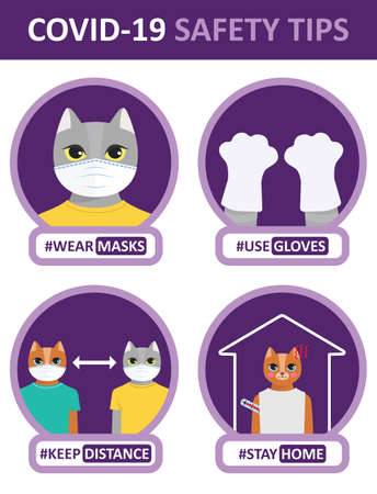 COVID-19 safety tips illustrated by the cute cartoon cat. Set of flat vector icons: wear a mask, use gloves, keep distance, stay home. Funny stickers, instruction for kids, poster Ilustração Vetorial