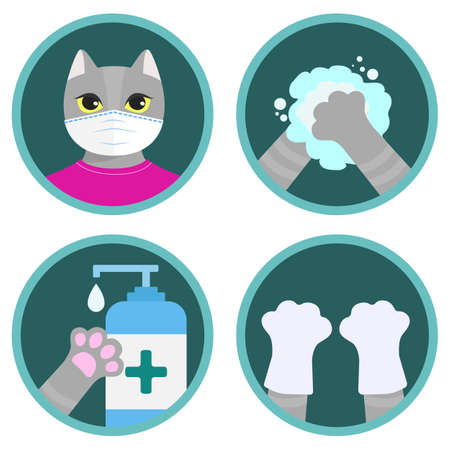 Safety measures against COVID-19 illustrated by the cute cartoon cat. Set of flat vector icons: wear a mask, wash your hands, use sanitizer, wear gloves. Funny instruction for children Ilustração