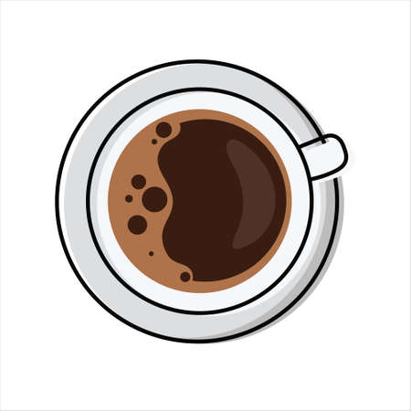 Cup of frothy coffee - top view. Simplified, outline color filled vector illustration of Americano / Espresso drink, isolated