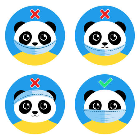The cute panda bear shows how to wear face mask correctly. Right and wrong ways of wearing medical protective mask. Cartoony instruction for kids