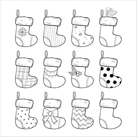 Christmas stockings set hand drawn vector illustration, black and white. Sock-shaped bags. Decorated winter socks, Saint Nicholas Day gifts