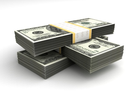 Stack of Dollar (with Clipping path) Stock Photo - 14376962