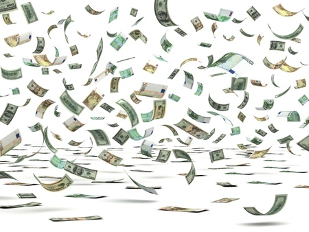 Flying Money  isolated with clipping path Stock Photo - 14376966