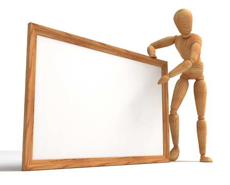 wooden mannequin: Message board Stock Photo