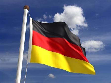 deutschland fahne: 3D Deutschland Flagge mit Beschneidungspfad