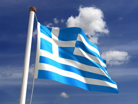 3D Greece flag  with clipping path  Stock Photo - 14552356