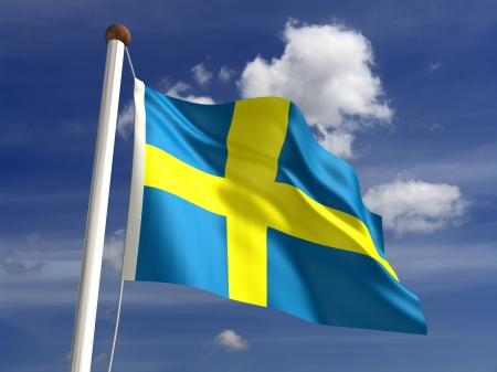 bandera de suecia: 3D Bandera de Suecia Foto de archivo