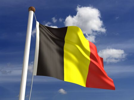 belgium flag: 3D Belgium flag Stock Photo