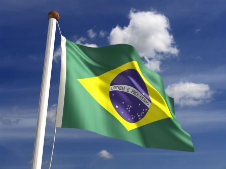3D Brazil flag Stock Photo