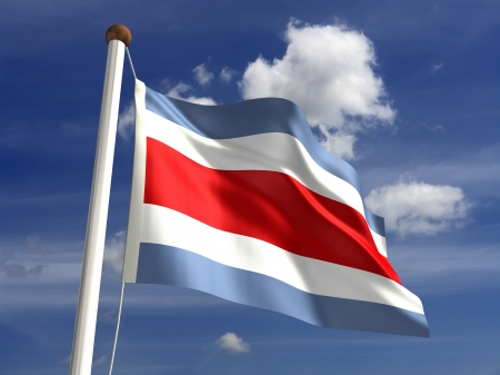 costa rican flag: 3D Costa Rica flag