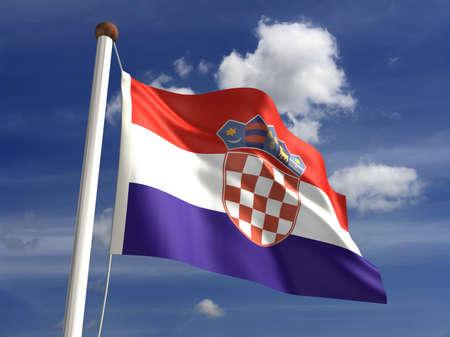 bandiera croazia: 3D bandiera Croazia Archivio Fotografico