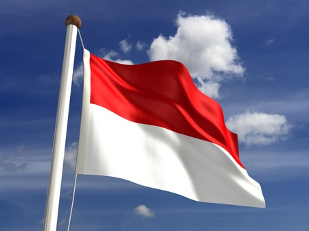 3D Indonesia flag photo