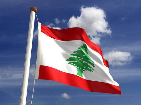3D Lebanon flag photo