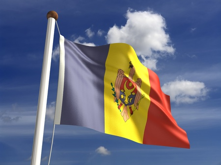 3D Moldova flag photo