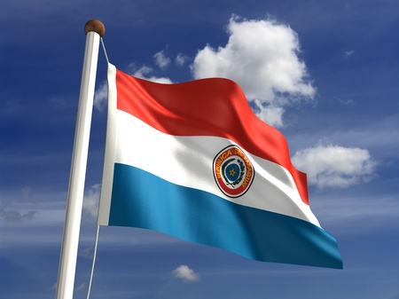 Paraguay flag: 3D bandera de Paraguay