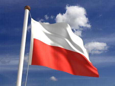 bandera de polonia: 3D bandera de Polonia Foto de archivo