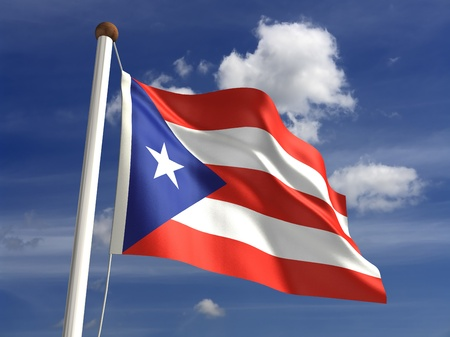 3D Puerto Rico flag photo