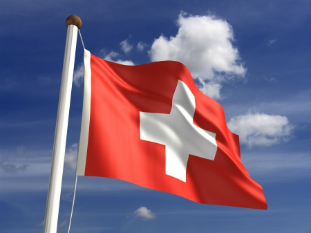 3D Switzerland flag Stock Photo
