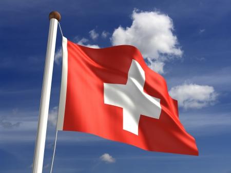 zwitserland vlag: 3D Zwitserland vlag Stockfoto