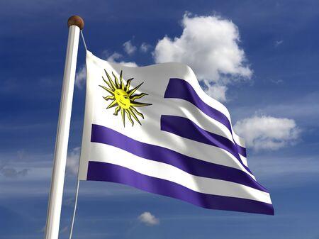 Uruguay flag: 3D bandera de Uruguay Foto de archivo